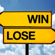 Win-lose situation, opposite signs — Stock Photo