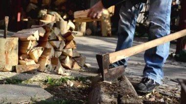 Odun kesmenin adam balta ile günlüğe kaydeder — Stok video
