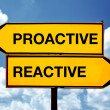 Stock Photo: Proactive or reactive, opposite signs