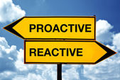 Proactive or reactive, opposite signs — Stock Photo