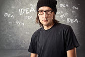 Casual Man with Black Cap with ideas — Stock Photo