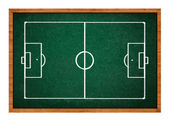 Soccer field on green chalkboard — Stock Photo