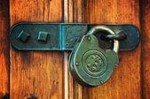 Bitcoins on padlock — Stock Photo
