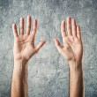 Stock Photo: CaucasiOpen hands raised