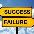 Stock Photo: Success or failure, opposite signs