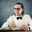 Nerd poet writing poems — Stockfoto