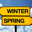 Winter or spring opposite signs — Stock Photo #40083279