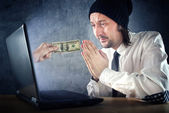 Online money funds, businessman asking for money — Stock Photo