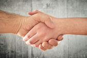 Friendly handshake. Man and woman shaking hands. — Stock Photo