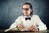 Nerd poet writing poems — Stock Photo