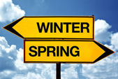 Winter or spring opposite signs — Stock Photo