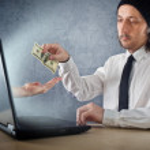 Online money funds, businessman giving money — Stock Photo