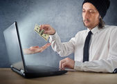 Online money funds, businessman giving money — Foto Stock