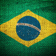 Brazil flag on coffee sack texture — Stock Photo