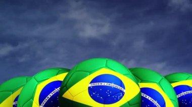Fußball mit brasilien-flagge — Stockvideo