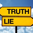 Truth or lie opposite signs — Foto de Stock