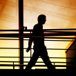 Stock Photo: Silhouette of a businessman walking
