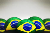 Soccer ball with Brazil flag — Stock Photo