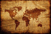 Old world map on hesian sack texture — Stock Photo