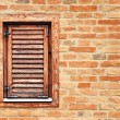 Italian style wooden window with closed shutter blinds — Stock Photo #40719249