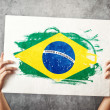 Stock Photo: Brazil flag. Mholding banner with BraziliFlag.