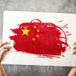 Stock Photo: Chinflag. Mholding banner with Chinese Flag.