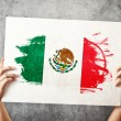 Mexico flag. Mholding banner with MexicFlag. — Stock Photo #40886763