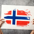 Stock Photo: Norway flag. Mholding banner with NorweigFlag.