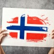 Norway flag. Mholding banner with NorweigFlag. — Stock Photo #40886765
