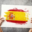 Stock Photo: Spain flag. Mholding banner with Spanish Flag.
