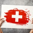 Stock Photo: Switzerland flag. Mholding banner with Swiss Flag.