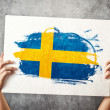 Sweden flag. Mholding banner with Swedish Flag. — Stock Photo #40886787