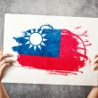 Stock Photo: Taiwflag. Mholding banner with taiwFlag.