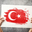 Turkey flag. Man holding banner with Turkish Flag. — Stock Photo