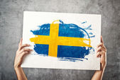 Sweden flag. Man holding banner with Swedish Flag. — Stock Photo
