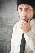Determined Businessman portrait with copy space — Stock Photo