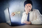 Online money funds, surprised businessman receiving cash over in — Foto Stock