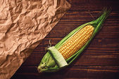 Ear of corn on the table — Foto Stock