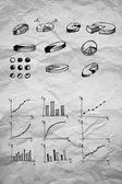 Diagrams and Pie Charts and other infographics drawing — Stok fotoğraf