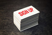 Sign Up Business cards with rounded corners — Stock Photo