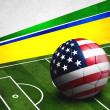 Soccer ball with USA flag on pitch — Stock Photo #45011361