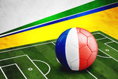 Soccer ball with France flag on pitch — Foto de Stock