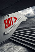 EXIT on Urban staircase in underground passage — Stock Photo