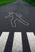 Pedestrian crossing with road markings after traffic accident — Stock Photo