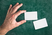 Hand hold blank business card with rounded corners — Stock Photo