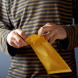 Man opening envelope — Stock Photo