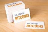 We accept bitcoins — Stock Photo