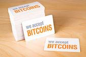 We accept bitcoins — Stock Photo