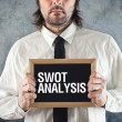 Businessman holding blackboard with SWOT ANALYSIS title — Stock Photo #45905291