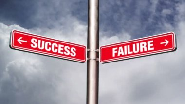 Success of failure road sign pointing to opposite directions. 1920x1080, 1080p, hd footage. — Stock Video